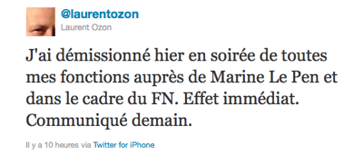 Tweet de Laurent Ozon annonçant sa démission du Front national