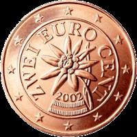 Pièce autrichienne de 2 centimes d'euro représentant un edelweiss