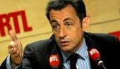 Nicolas Sarkozy dans les studios de RTL le 27 mai 2008
